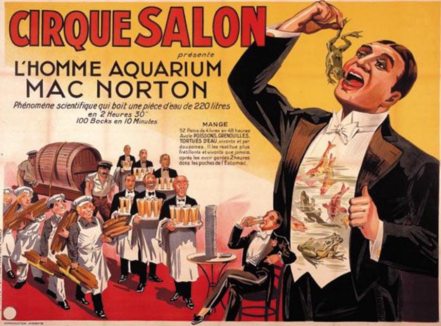 """Préférence NORTON MAC. """"Cirque Salon présente l'Homme aquarium Mac Norton"""" L  FP49"""