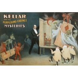 Kellar and his perplexing gabinet mysteries. Affiche de spectacle de magie.