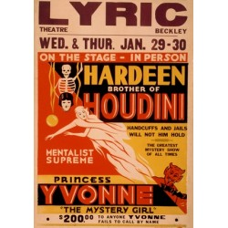Affiche spectacle de mentalisme. Hardeen brother of houdini princess Yvonne mentalist supreme