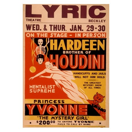 Hardeen brother of houdini princess Yvonne mentalist supreme
