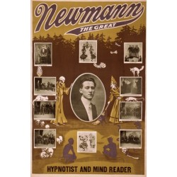 Affiche de spectacle de mentaiste. Newmann the great hypnotist and mind reader
