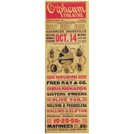 Houdini affiche escapologie Orpheum theatre. Art de l'évasion