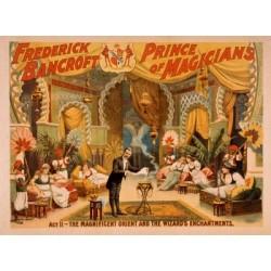Frederick Bancroft Prince of magiciens. Affiche couleur du spectacle du 19ème siècle.