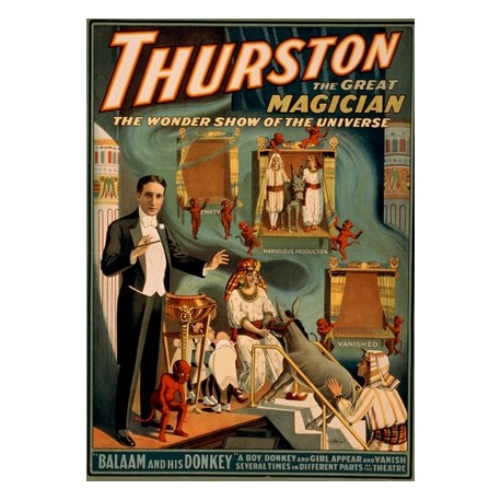 Thurston balaam and his donkey. Affiche de magie