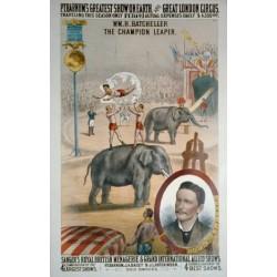 Affiche de cirque vintage avec des éléphants