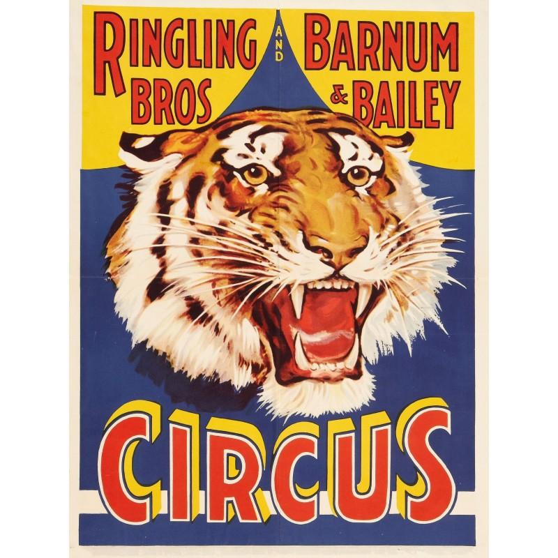 Assez Affiche de cirque, Tigre. Taille 52 cm x 66 cm DH81