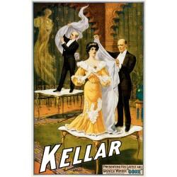 Harry Kellar. Affiche d'illusionnisme. Taille 58 cm x 90 cm en jpeg
