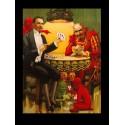 Magicien qui joue au cartes avec des diablotins. Taille de l'affiche 37 cm x 50 cm