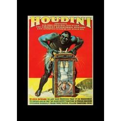 Houdini. affiche, Houdini s'évade d'une malle remplie d'eau. Taille A4 (21 x29,7cm)