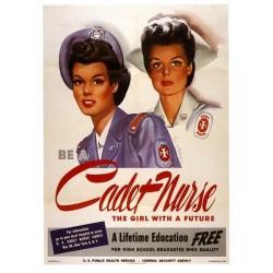 Affiche de recrutement des infirmières au USA. Taille de l'affiche 52 x 74 cm