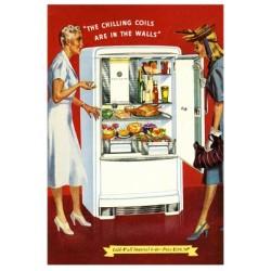 Publicité vintage pour un réfrigérateur. Taille 37 cm x 52 cm.