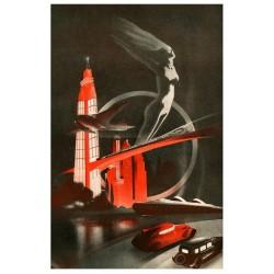 illustration années 30, illustration d'anticipation, ville du future jpg taille 127 cm. x 84 cm.