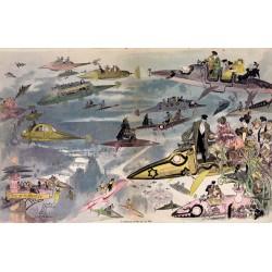 """Affiche Albert Robida 1882 : """"Le Sortie de l'opéra en l'an 2000"""" taille 130 cm x 84 cm"""