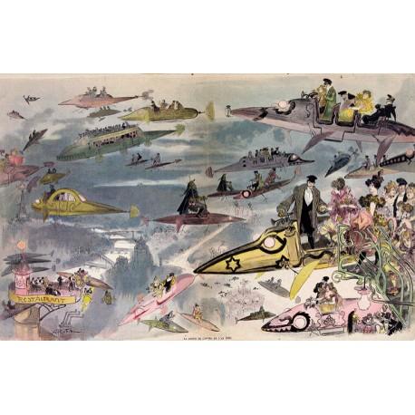 """Affiche Albert Robida : """"Le Sortie de l'opéra en l'an 2000"""""""