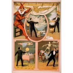 Affiche spectacle de magie du 19ème siècle. Magiciens